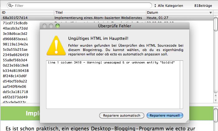 ecto displays an error message... again.
